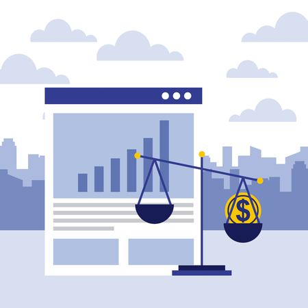 business website report document and scale money vector illustration Imagens - 111899311