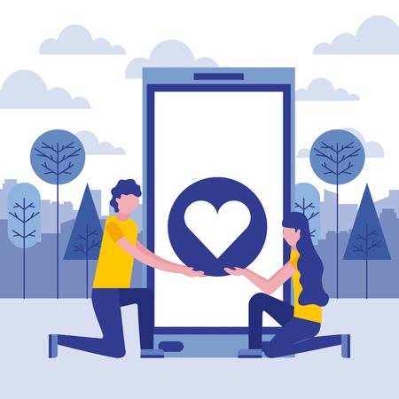 man and woman smartphone love heart vector illustration