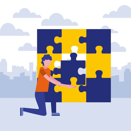 man on the knee with puzzle jigsaw business concept vector illustration