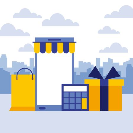 smartphone shopping bag calculator gift online buy business vector illustration Illustration