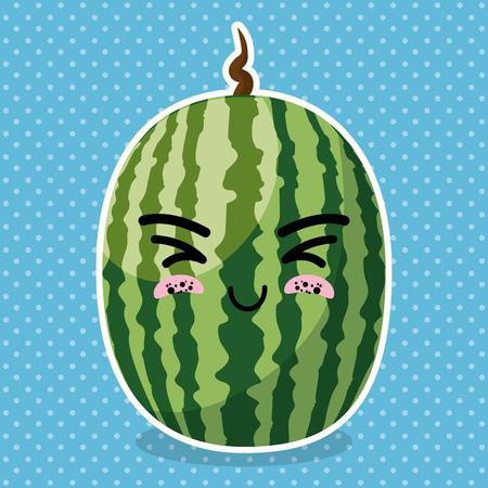 fresh watermelon fruit kawaii character vector illustration design