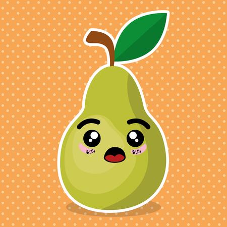 fresh pear fruit kawaii character vector illustration design