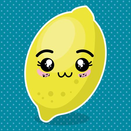 fresh lemon fruit kawaii character vector illustration design Illustration