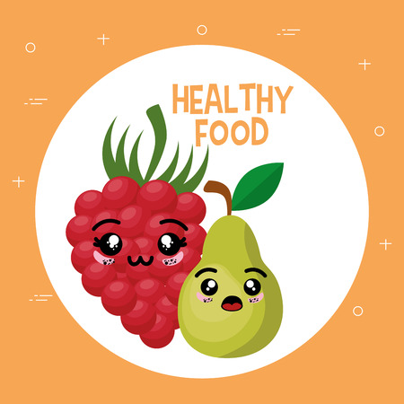 fresh fruits kawaii characters vector illustration design Illustration