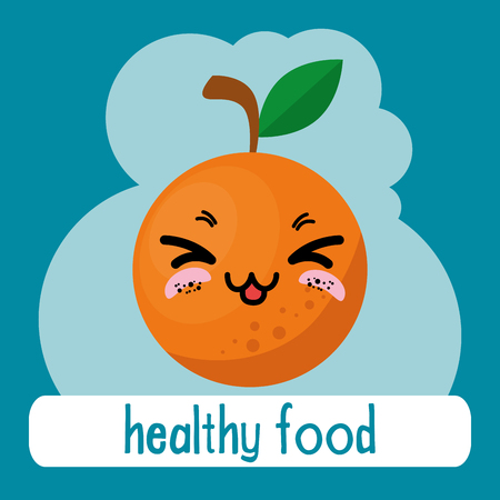 fresh orange fruit kawaii character vector illustration design