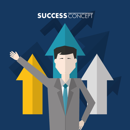 success concept man hand up arrows point up vector illustration Banque d'images - 106723264