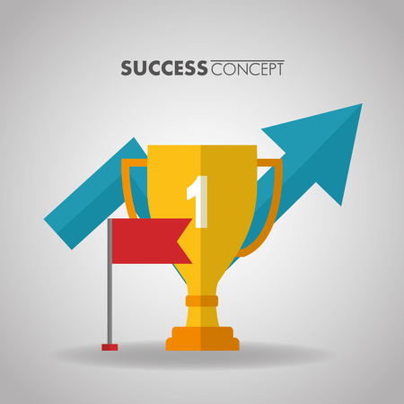 success concept trophy red flag arrow going up vector illustration