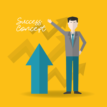 success concept man hand up arrow pointed up vector illustration Illustration