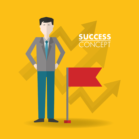success concept man hands in the hip arrows going up background red flag vector illustration