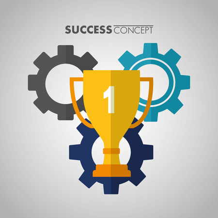 success concept color wheels trophy number one sign vector illustration