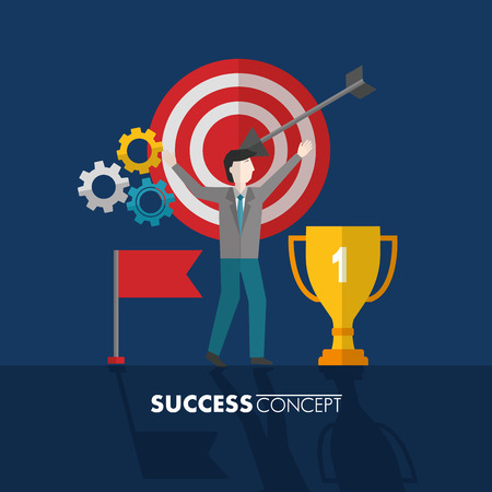 success concept trophy red flag pointer wheels colors vector illustration Stock Vector - 111899352