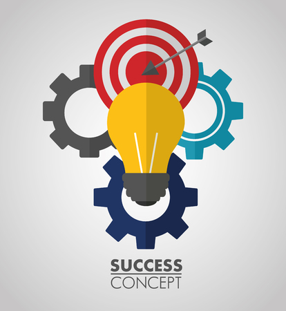 success concept wheels pointer sign light bulb vector illustration  イラスト・ベクター素材