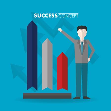success concept man hand up pointed statistics vector illustration