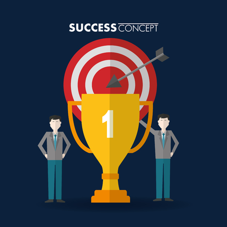 success concept pointer trophy mans pointed standing vector illustration Stock Illustratie