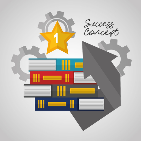 success concept books colors star win arrow wheel background vector illustration