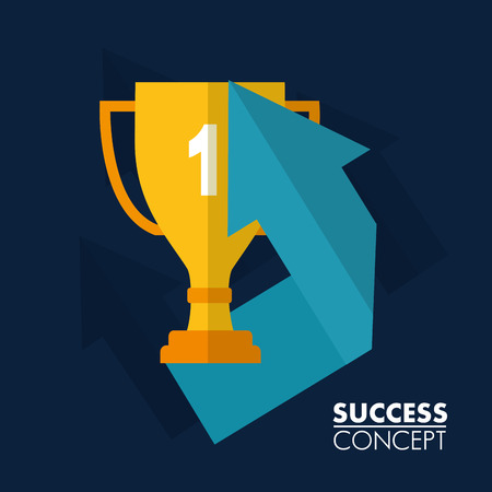 success concept trophy win arrow point vector illustration
