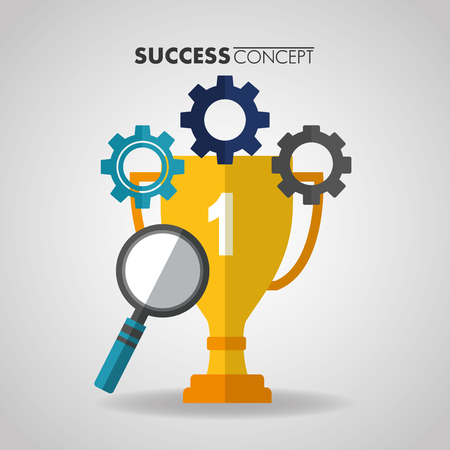 success concept trophy wheels colors magnifying glass vector illustration