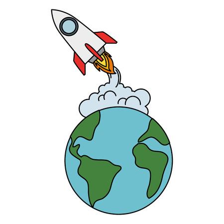 world planet earth with rocket flying vector illustration design