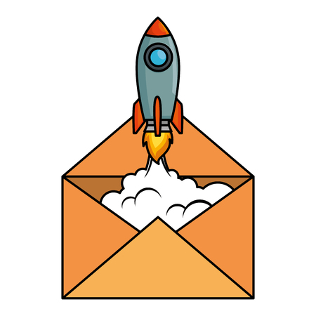 envelope mail with rocket vector illustration design