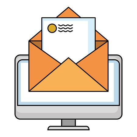 computer with envelope mail vector illustration design