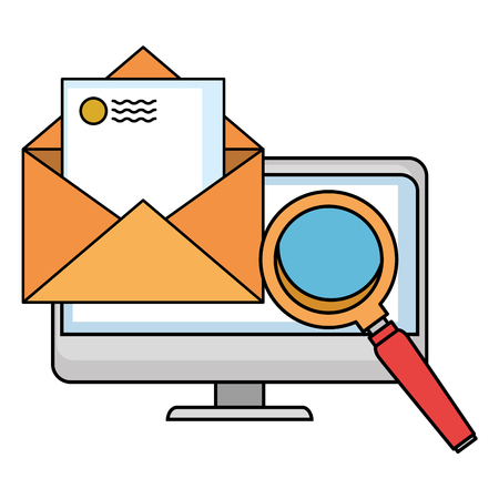computer with envelope mail and magnifying glass vector illustration