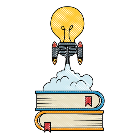 bulb rocket launcher with books vector illustration design