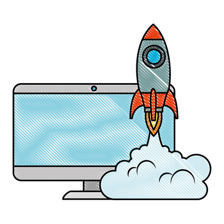 monitor computer with rocket launcher vector illustration design Illustration