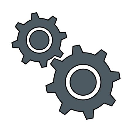 Progettazione dell'illustrazione di vettore dell'icona isolata macchinario degli ingranaggi Vettoriali