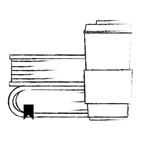 pile text books with coffee vector illustration design Ilustração