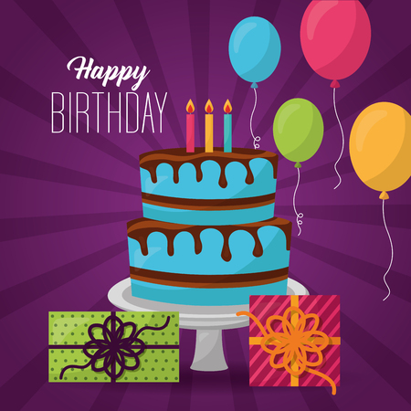 happy birthday cake candless chocolate balloons gift boxes vector illustration Illustration