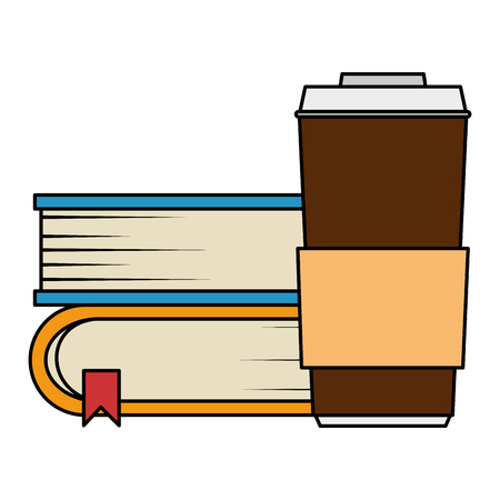 pile text books with coffee vector illustration design Ilustrace
