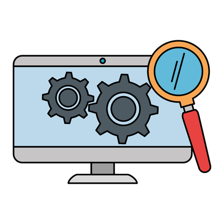 monitor computer with gears and magnifying glass vector illustration