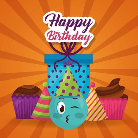 happy birthday emoji face gift party hats cupcake