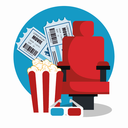 cinema chair with pop corn and tickets vector illustration design