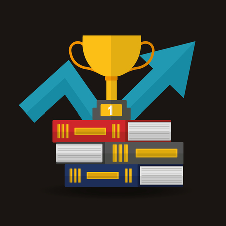 success concept winner trophy arrow going up books colors vector illustration