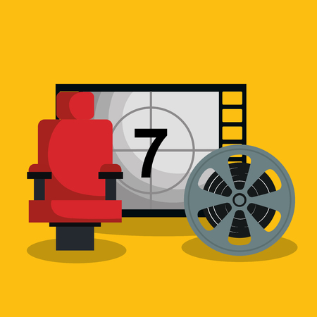 cinema counter with icons vector illustration design