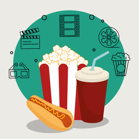 cinema food with set cinema icons vector illustration design Ilustrace