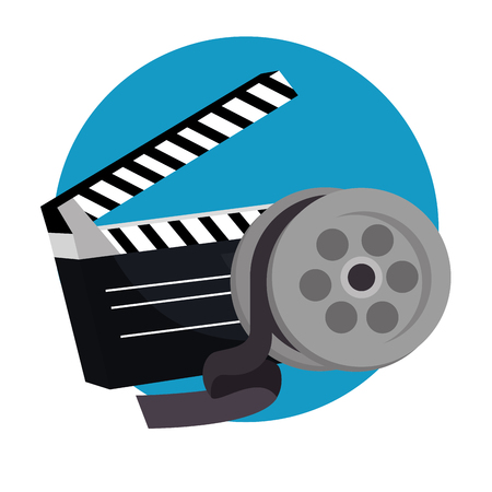 clapper cinema production icons vector illustration design