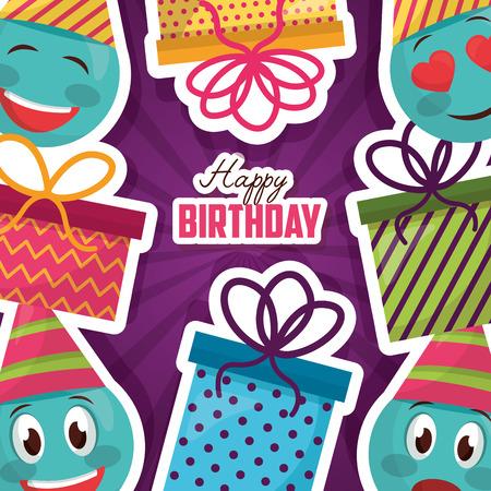 happy birthday emoticons smile party hat gift decoration Ilustracja