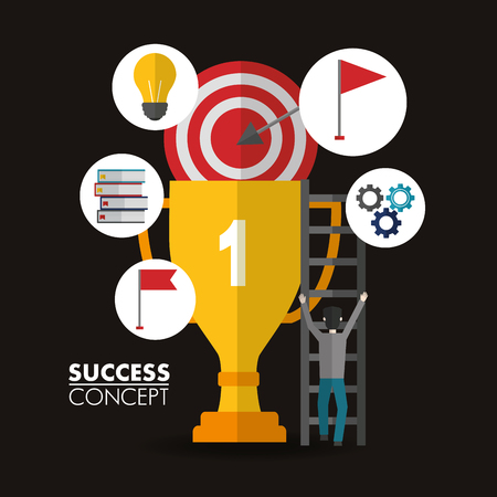 success concept winner trophy number one stickers man going up stairs vector illustration Illusztráció
