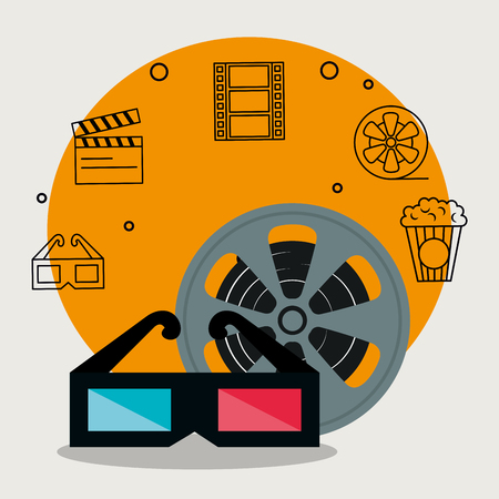 cinema industry set icons vector illustration design 向量圖像