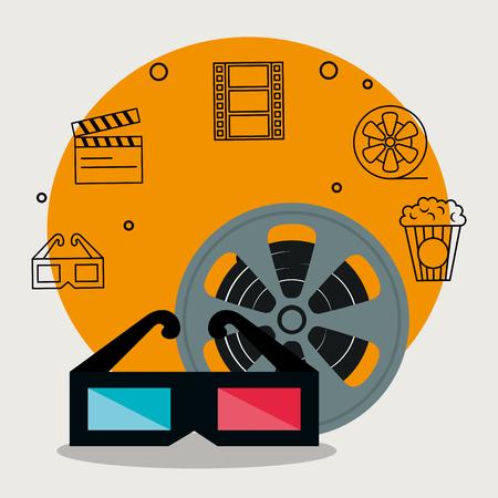 cinema industry set icons vector illustration design Illustration
