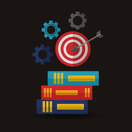 success concept winner pointer wheels books vector illustration