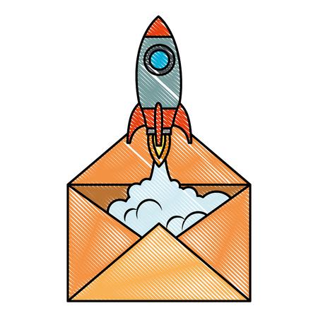 envelope mail with rocket vector illustration design
