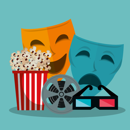 theater masks cinematographic icons vector illustration design Çizim