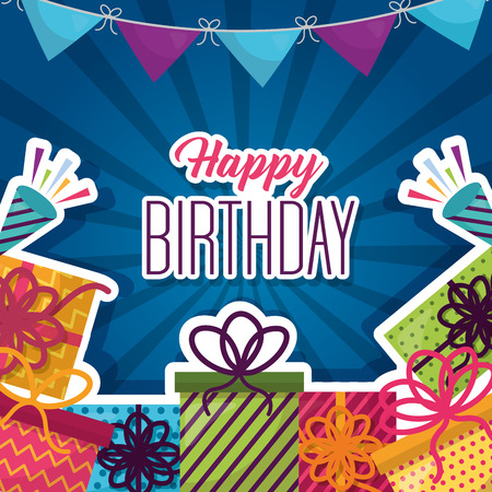 happy birthday gift boxes surprise garland celebration Illustration