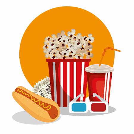 cinema food with glasses 3d vector illustration design
