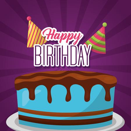 happy birthday delicious cake melted chocolate Ilustração