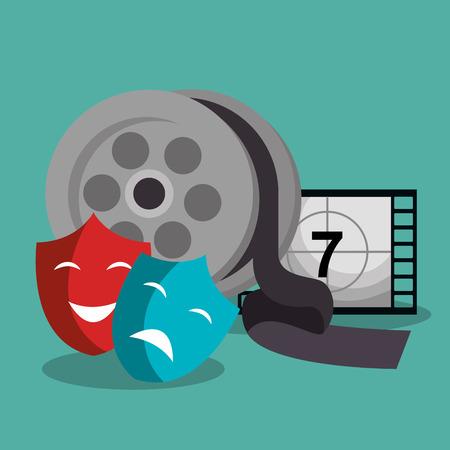 cinema reel with masks and tape vector illustration design