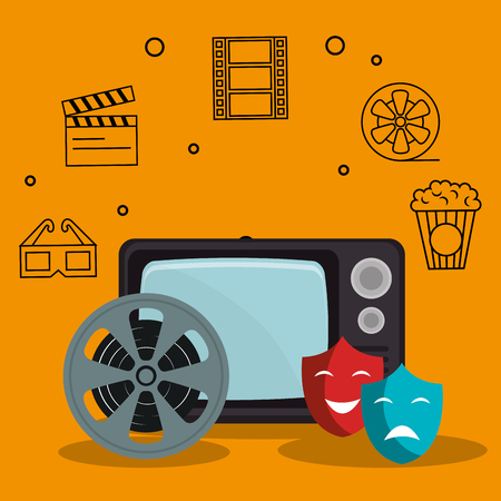 old tv with cinema icons vector illustration design 向量圖像